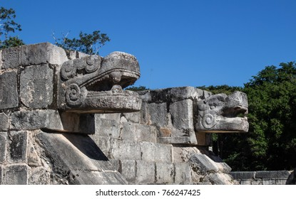 Serpent carvings at the base of the temples in Chichen Itza. Yucatan, Mexico
