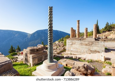 Serpent Column of Plataea and Temple of Apollo in Delphi. Delphi was an important ancient Greek religious sanctuary sacred to the god Apollo.