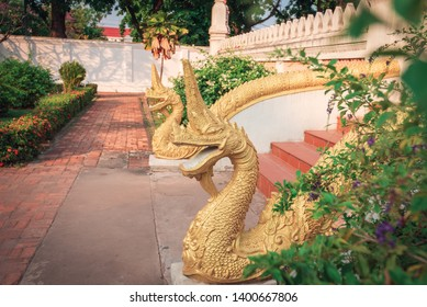 Serpent King or Naga Statue in Laos Temple.Hor Pha keo (Haw Pha Kaew) Museum in Vientiane, Laos. Religious architecture and landmarks, Famous tourist destination in Asia. Laos landmark and travel.