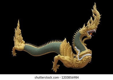 Serpent king or king of naga statue in Thai temple isolated on white background.