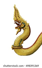 Serpent king in Thai temple isolated on white background.