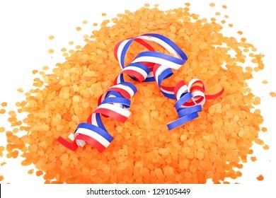 Serpentine curl in orange confetti
