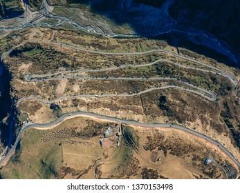 Serpentine on the Georgian millitary road near Gadauri