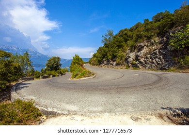 Serpentine on the road in Montenegro