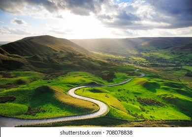 Serpentine Road Among Green Hills of Peak District National Park, Uk.
