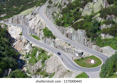 Serpentine road connectine alpine passes Furka and Grimsel