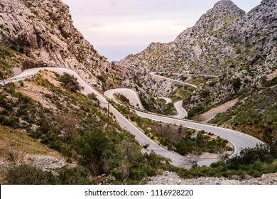 Serpentine road direction sa calobra, majorca, Spain