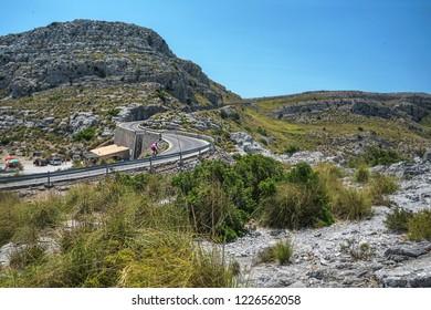 Serpentine road direction sa calobra, majorca. Beautiful view on hills and roads on destination Sa Calobra Torrente de Pareis, on island Palma Mallorca, Spain. Balearic islands Spain