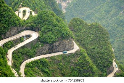 Serpentine road in the Tianmen Mountain,China