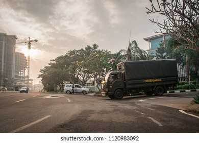 Serpong, Banten / Indonesia - October 22 2017: Military Truck in front of Multimedia Nusantara University.