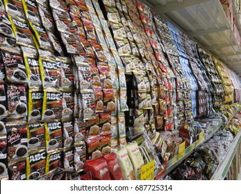 SERPONG, INDONESIA - July 16, 2017: Various instant coffee on the shelves in a supermarket.