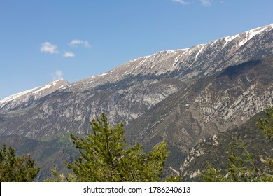 The Serra del Cadi with snow. Is a mountain range in the north (Pre-Pyrenees) of Catalonia (Spain). Panoramic view from Saldes.