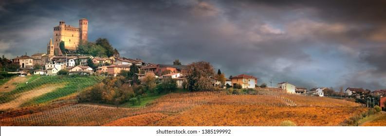 Serralunga d'Alba, village in Barolo wine region, Langhe, Piedmont, Italy