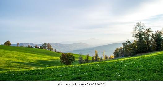 Serramazzoni, Italy - 11.08.2020: the amazing landscape of Modenese Appenine in Serramazzoni