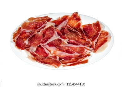 Serrano ham, ham, typical and delicious Spanish food, isolated background on white. Selective focus foreground