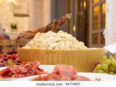 serrano, jamon and parmesan, grape