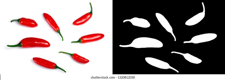 Serrano Tampiqueno chile peppers (Capsicum annuum), red ripe. Clipping paths, shadow separated, top view