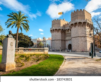 Serrano Towers, one of the twelve gates that were found along the old medieval city wall in Valencia, Spain.