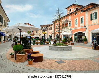 Serravalle Designer Outlet is the largest outlet in Italy and Europe with shops of the major fashion brands. SERRAVALLE SCRIVIA, ITALY - APRIL 2019