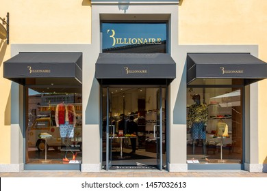 "Serravalle, Italy 07.14.2019 Fashion designer outlet summer sales. The entrance view of the ""Billionaire"" store"