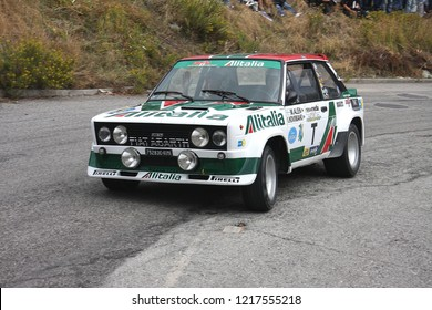 Serravalle - San Marino October 10 2009: Fiat 131 Abarth old rally car driven by Rossi-Brivio. 7th Rally Legend 2009 Historical race show.