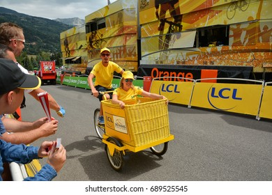 SERRE-CHEVALIER , FRANCE - JULY 19, 2017.The spectacle of Publicity Caravan at the Stage 17 in Serre Chevalier , route La Mure-Serre Chevalier, Tour de France 2017.