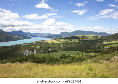 Serre-poncon, artificial lake in french alps - Summit of Mont Morgon, Hautes Alpes, France