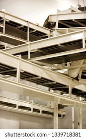 A serries of conveyor belts to move products around a food processing facility.