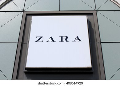 SERRIS, FRANCE - APRIL 18, 2016: Logo of Zara brand. Zara is the leading clothing retail chain of the Spanish group Inditex.