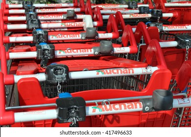 SERRIS, FRANCE - MAY 8, 2016: Caddy of the Auchan brand. Auchan is a great French retail brand. In 2010, it is the thirteenth worldwide distributor and the second French distributor.