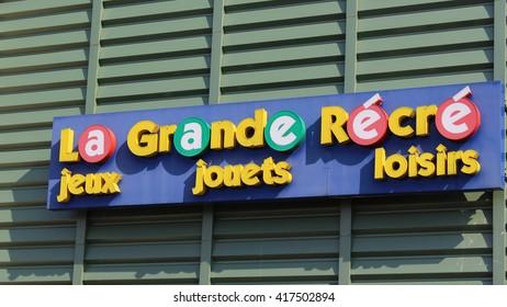 SERRIS, FRANCE - MAY 8, 2016: La Grande Recre sign. La Grande Recre is a french toy store.