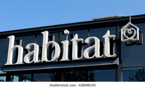 SERRIS, FRANCE - MAY 8, 2016: Habitat sign. Habitat is a chain of stores specializing in the sale of furniture and contemporary decorative accessories.