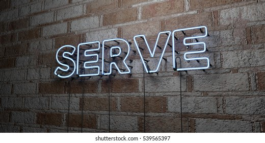 SERVE - Glowing Neon Sign on stonework wall - 3D rendered royalty free stock illustration.  Can be used for online banner ads and direct mailers.