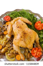 served baked chicken on tray. Isolated over white