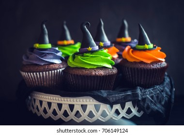 Served cupcakes with witch hat,halloween decoration