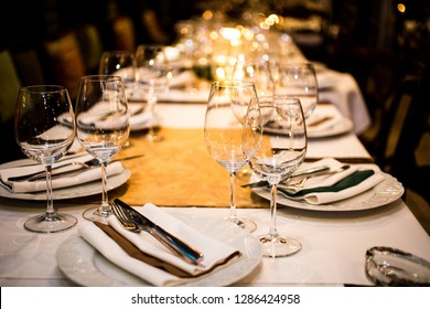 Served dinner table. Restaurant interior