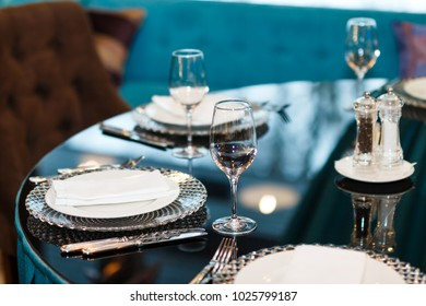 Served dishes on the festive table