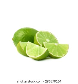 Served green lime fruit composition isolated over the white background