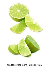Served green lime fruit composition isolated over the white background, set of different foreshortenings