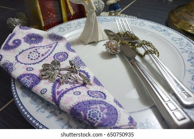 served plate with napkin and close-up