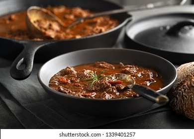 Served of portion of traditional Beef stew - goulash