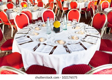 served table at the beginning of official dinner in restaurant