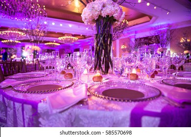 Served table for dinner on the wedding party at luxury hotel restaurant