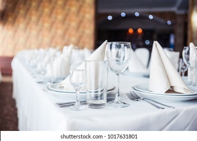 Served table. hall for banquets and weddings