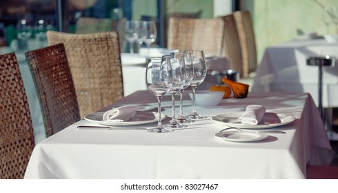 Served table in  restaurant interior