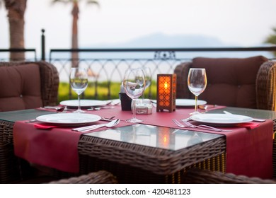 Served table in a restaurant outdoors.