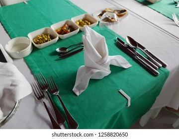 served table in the restaurant with snacks