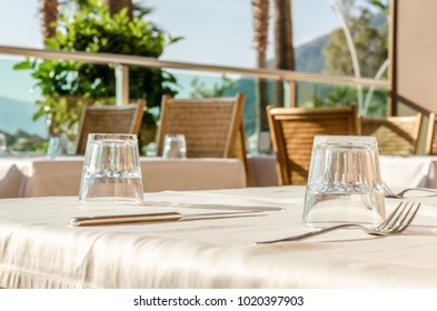 Served tables breakfast of the restaurant on the beach palm resort luxury vocation lunch