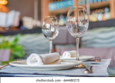 Served tables at cafe or restaurant