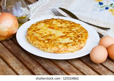 served tortilla  - spanish omelette